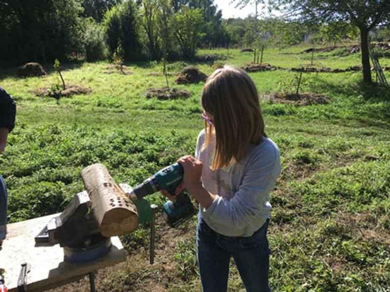 Kind beim bohren von Nistlöchern für Wildbienen