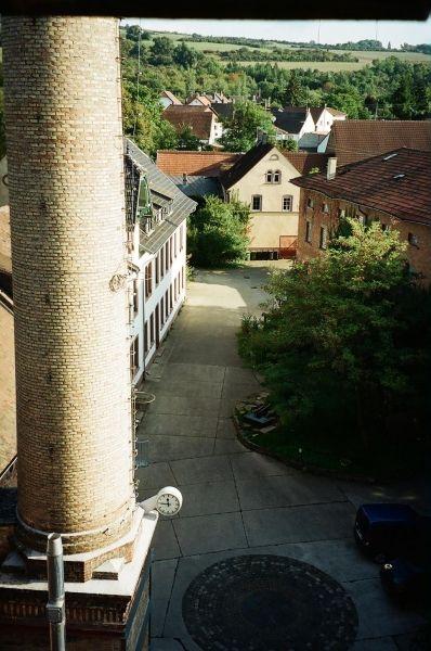 Papierfabrik Schornstein und Innenhof