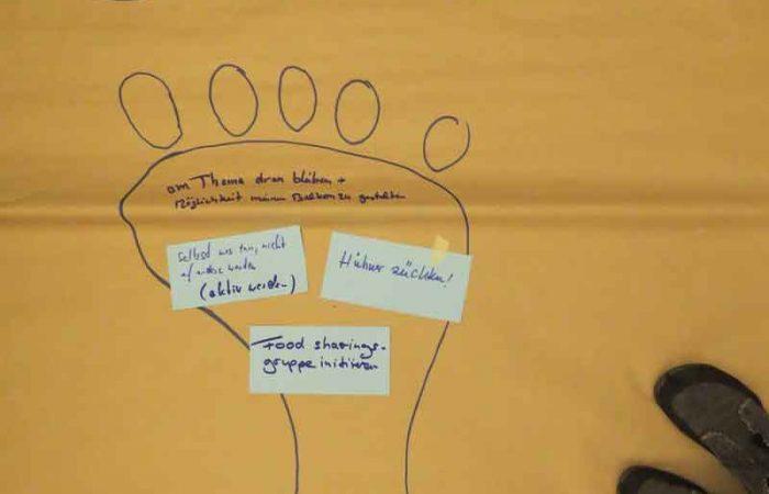 gelbes Plakat zur Impulsveranstaltung ökologischer Fußabdruck mit Teilnehmerbeiträgen